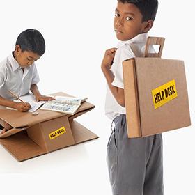 Una cartella-banco portatile ed ecologica per la scuola
